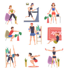 people doing sports at home set men and women vector image