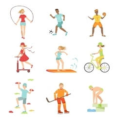 People Enjoying Physical Activities vector image