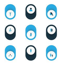 Person icons colored set with rejoicing user vector