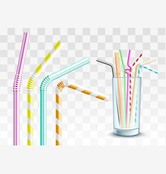 plastic straw in glass cup set vector image