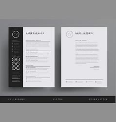professional cv resume template design vector image