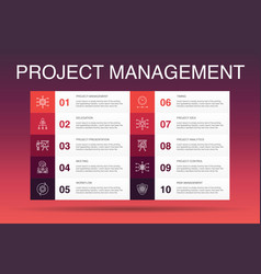 Project management infographic 10 option template vector