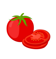 red tomatoes and slices cartoon flat tomato vector image