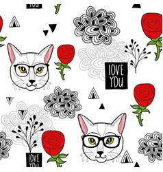 Romantic endless wallpaper with cats and roses vector