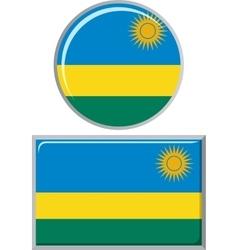 Rwanda round and square icon flag vector image