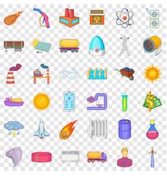 Save energy icons set cartoon style vector