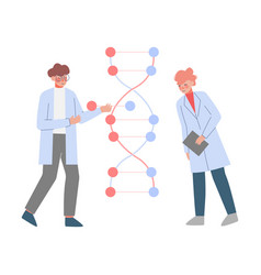 Scientists in lab tiny people in white coat doing vector