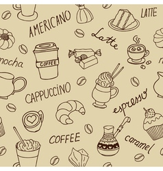 Seamless coffee pattern with hand drawn elements vector