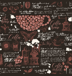 seamless pattern on coffee and tea theme vector image