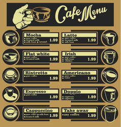 Set of coffee menu with a cups of coffee drinks 5 vector