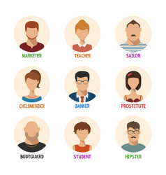 Set of isolated faces for different professions vector