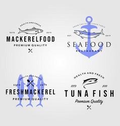 set seafood fish logo vintage hipster label vector image