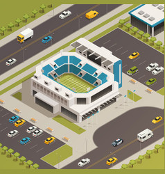 Sport stadium area isometric composition vector