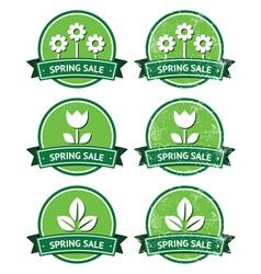 Spring sale retro green round labels - grunge vector image
