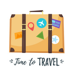 suitcase with different stickers vector image