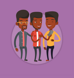 Three smiling friends looking at mobile phone vector