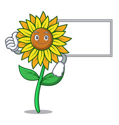 Thumbs up with board sunflower character cartoon vector