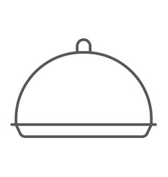 Tray thin line icon cover and dish vector
