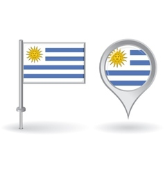 Uruguayan pin icon and map pointer flag vector