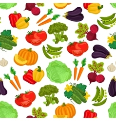 Vegetables seamless vegan pattern of flat icons vector image