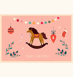 vintage christmas horse vector image