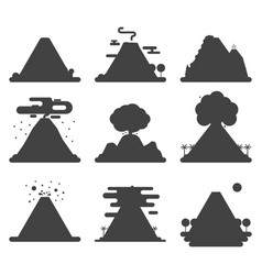Volcano magma nature blowing up silhouette vector