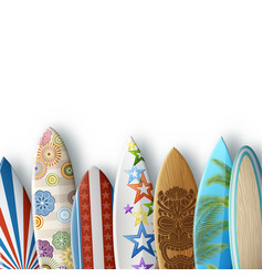 White background with surfboards vector