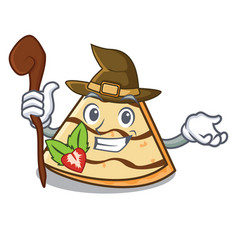 Witch crepe mascot cartoon style vector