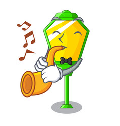 With trumpet street lamp post in shape cartoon vector