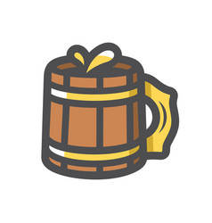 wooden beer mug icon cartoon vector image