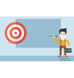 Working chinese man holding a target arrow vector