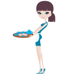 young attractive waitress vector image