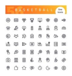 Basketball Line Icons Set vector image