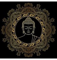 Buddha Head on Mandala Background vector image vector image