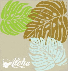 Hawaii text aloha Background with Hibiscus leave vector image