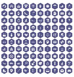 100 joy icons hexagon purple vector image vector image