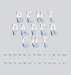 bent paper cut font template alphabet vector image