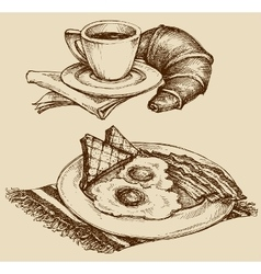 Breakfast food coffee and croissant ham and eggs vector