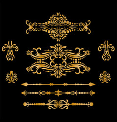 color gold vintage decorations elements vector image