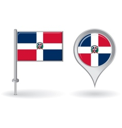 Dominican republic pin icon and map pointer flag vector