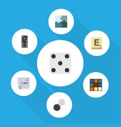 flat icon games set of bones game backgammon vector image vector image