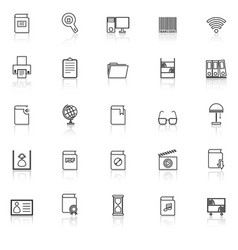 library line icons with reflect on white vector image vector image