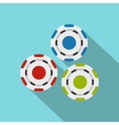 Red blue and green casino tokens flat icon vector image vector image