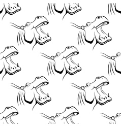 Seamless pattern of a hippo with an open mouth vector
