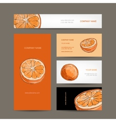 Set of business cards design orange sketch vector image vector image