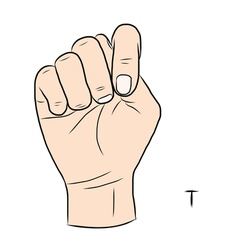 Sign language and the alphabetThe Letter t vector image vector image