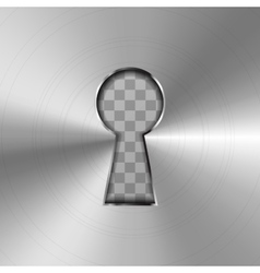 Simple keyhole in bright glossy metal plate vector image