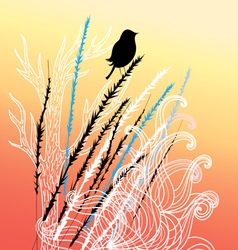 bird and plants vector image vector image