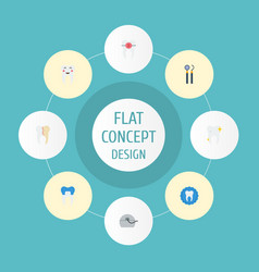 flat icons halitosis brace dental crown and vector image vector image