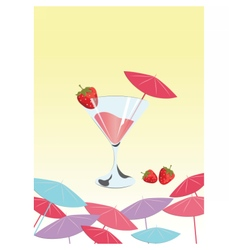 Strawberry cocktail summer sun party vector